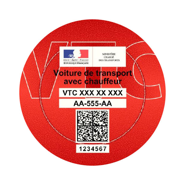 "vignette rouge ""VTC"""